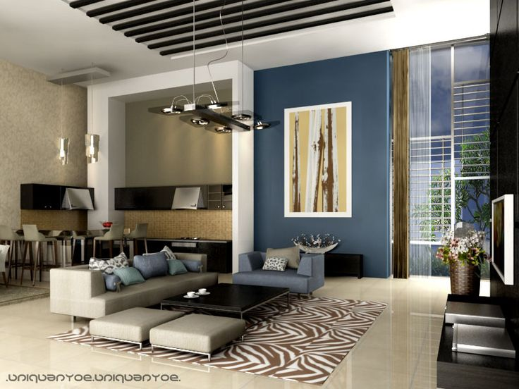 Love the colors, animal print rug, accent wall, open concept