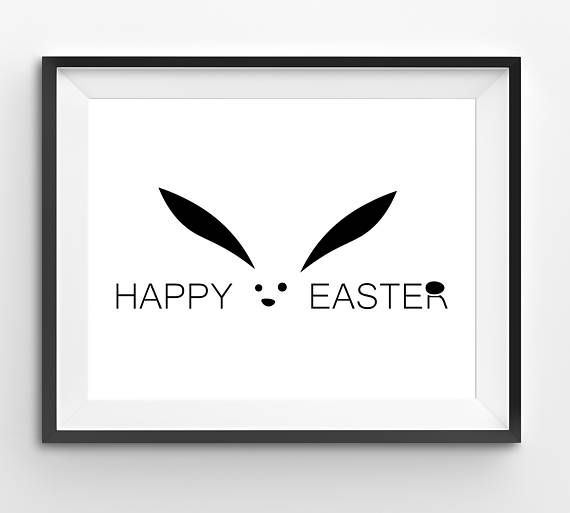Happy Easter Black Typography Print with Funny Big Bunny Ears