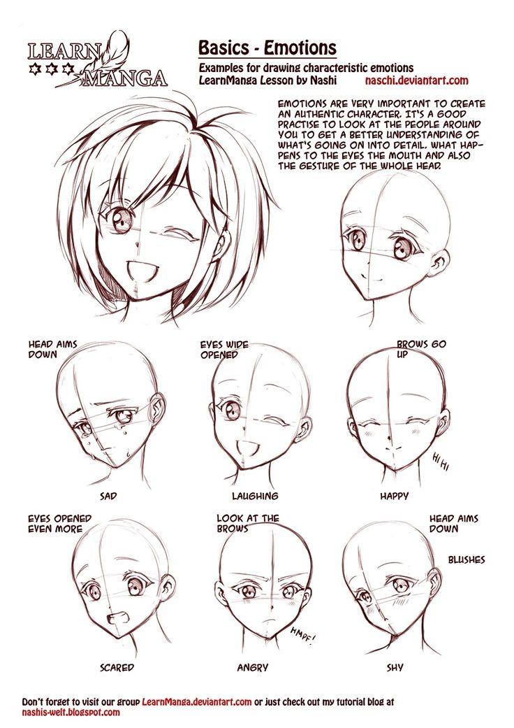Learn Manga: emotions by *Naschi. How to draw manga face, girl face, cute kawaii drawing tutorial, how to manga draw eyes expressions, manga, anime, tutorial (900x1273)