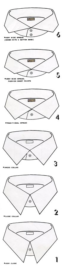types of collar spreads mens shirts - Google Search