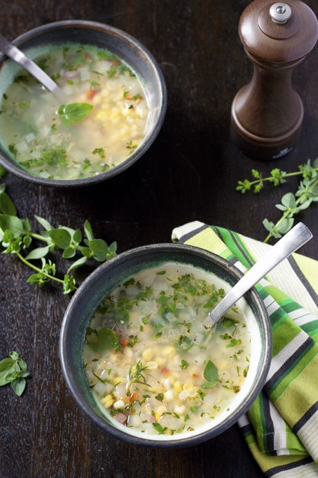 Corn and Herb Summer SoupSoup Corn, Food Ideas, Herbs Soup, Corn Soup, Fresh Herbs, Cornsoup2 460 2, Soup Recipe, Fresh Corn, Local Kitchens