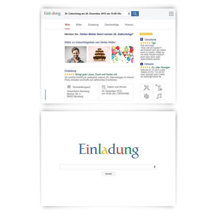 Einladungen (30 Stück) Zum Geburtstag Als Suchmaschine Homepage Web Site  Einladungskarten