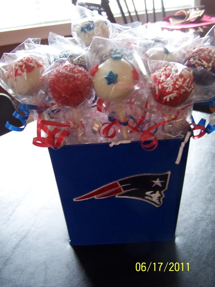 Patriot Cake Pops for Caleb's Birthday!    @New England Patriots