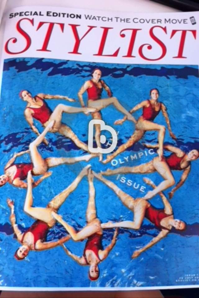 The cover of Stylist magazine that comes to live with the help of the application Blippar. Amazing! And my favourite synchronised swimming!