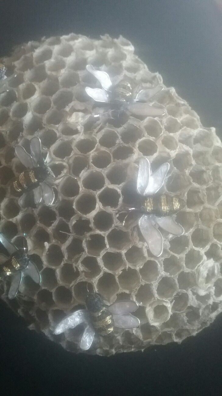 Stumpwork bees on real nest. Extremely small elements.