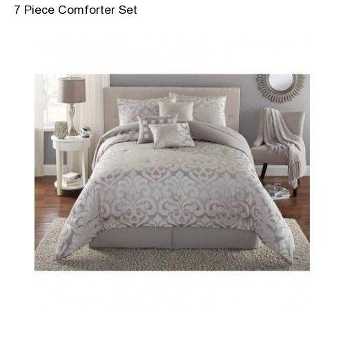 new grey full queen size comforter set modern bedding bedspread with bedskirt