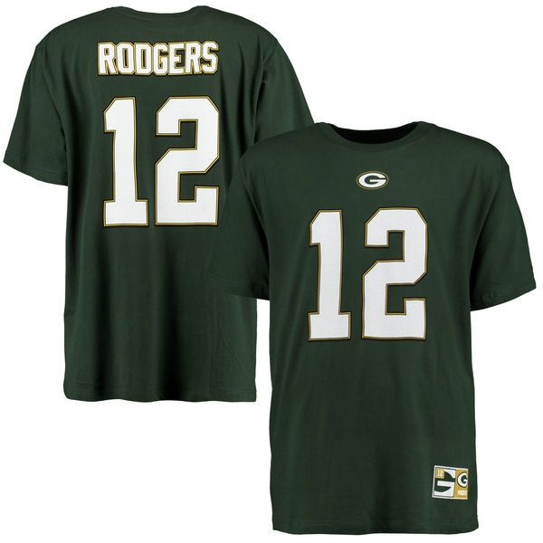 Men's Green Bay Packers Aaron Rodgers Majestic Green Eligible Receiver Name and Number T-Shirt