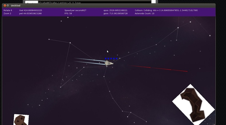PEW PEW!  Tech used for the engine trail, used to make a bullet. You can also actually shoot asteroids now :P Dev 2013-06-18