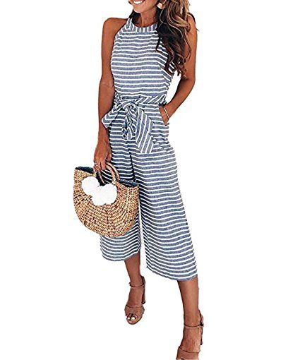 990c094d4b0 Ru Sweet Women Striped Waist Belted Wide Leg Jumpsuit
