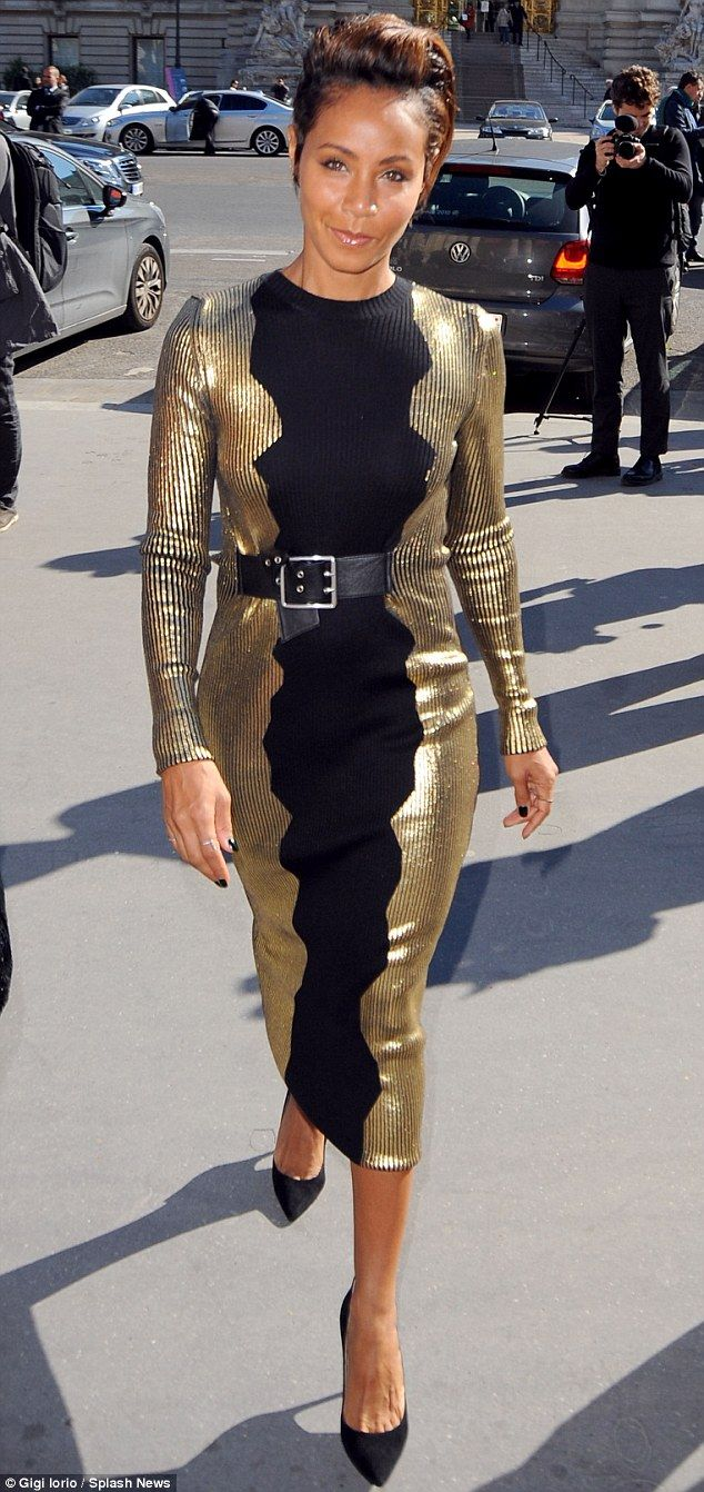That's one way to shine: Jada Pinkett Smith  made a striking sartorial appearance at Paris...