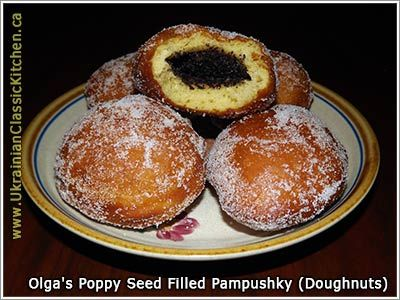 Ukrainian - Poppy Seed Filled Pampushky (Poppy Seed Filled Doughnuts)