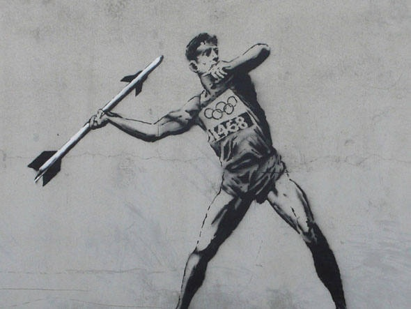 Grafite de Banksy em Londres com referência aos Jogos Olímpicos