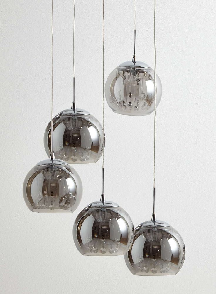 Smoke Glass And Crystal Spiral Cluster Light Bhs With Images Cluster Lights Smoked Glass