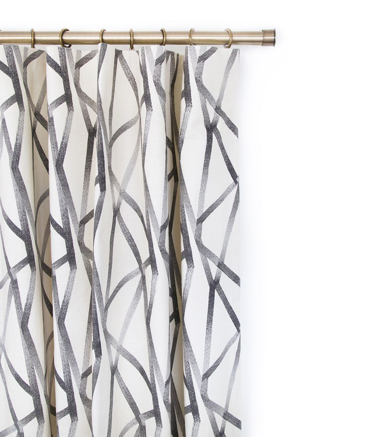 hand drawn graphic line fabric makes for impacting but neutral  curtain panels. Custom made by Tonic Living - available by the yard or inquire for your window treatment quote