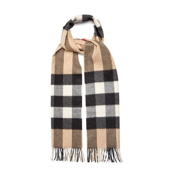 Burberry House-check cashmere scarf ($445) ❤ liked on Polyvore featuring men's fashion, men's accessories, men's scarves, camel, burberry mens scarves and mens cashmere scarves