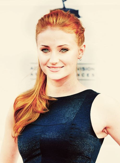 "Sophie Turner,  the gorgeous ginger haired girl who plays Sansa Stark on the hit HBO series ""Game of Thrones"""
