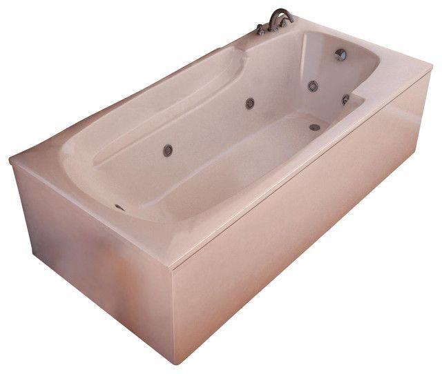 "Venzi Eros 60"" x 32"" Rectangular White Acrylic Whirlpool Jetted Bathtub, Left Drain (3260EWL)"