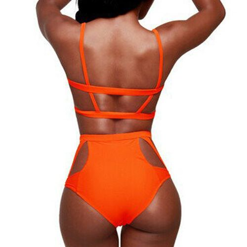 Cheap Sexy Hollow-out Cut-out Solid Orange Two-piece Bikini ...