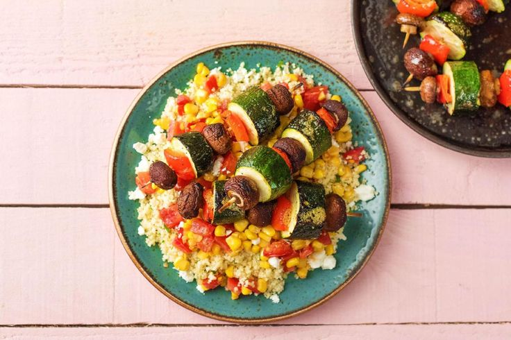Caramelized Veggie Skewers with Summer Corn Relish and Herby Couscous Recipe | HelloFresh