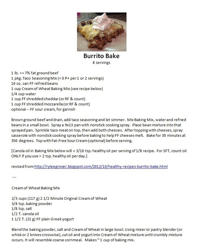 """Burrito Bake:  [Text not selectable. To copy recipe: click to enlarge picture, then right-click   Save image as . . .   Rename file   Notice file location (directory); TO PRINT: After saving file, in Windows Explorer, right-click file , click Print, then UNcheck """"Fit picture to frame"""". Click Print.]"""