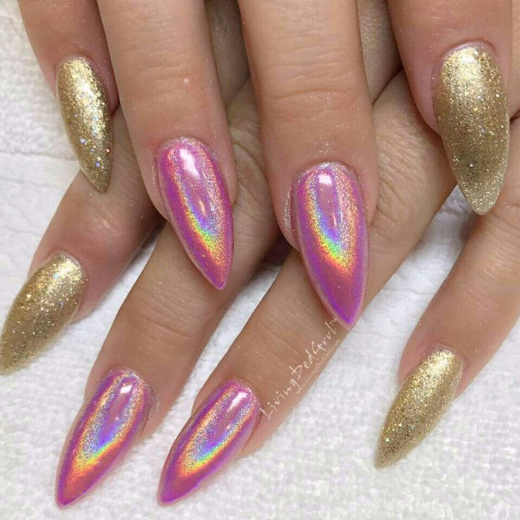 #Pink #glitter and #holo #stiletto #nails #gold #naildesign (mine) by Christie at Klassy Nails and Spa in Gilbert, AZ