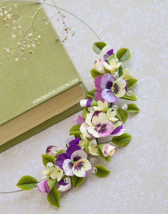 Pansies collane gioielli fiori del Pansy collana di fiori di