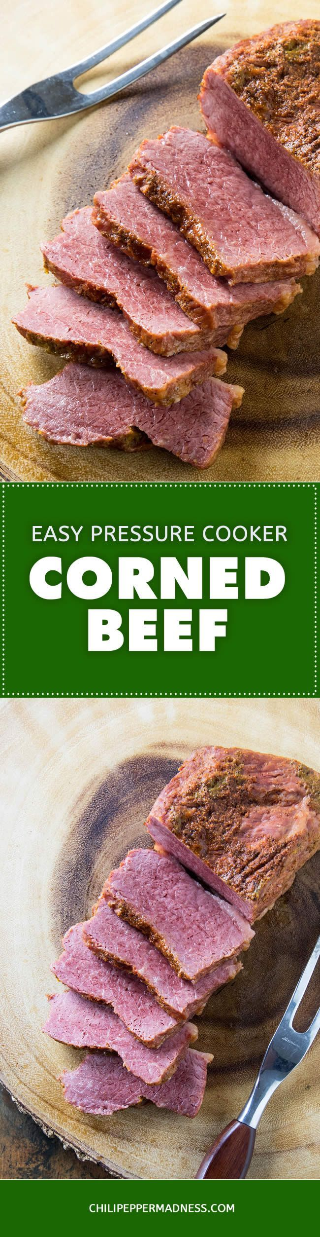 Pressure Cooker Corned Beef – The Recipe - This recipe and a pressure cooker are all you need for the juiciest, most tender corned beef brisket in a fraction of the time it takes for oven or slow cooking. Don't forget to cut against the grain. Serve it up with cabbage or your favorite side dish.  #cornedbeef #StPatricksDay #pressurecooker #cooking #recipe #recipeoftheday #recipeideas #recipesharing
