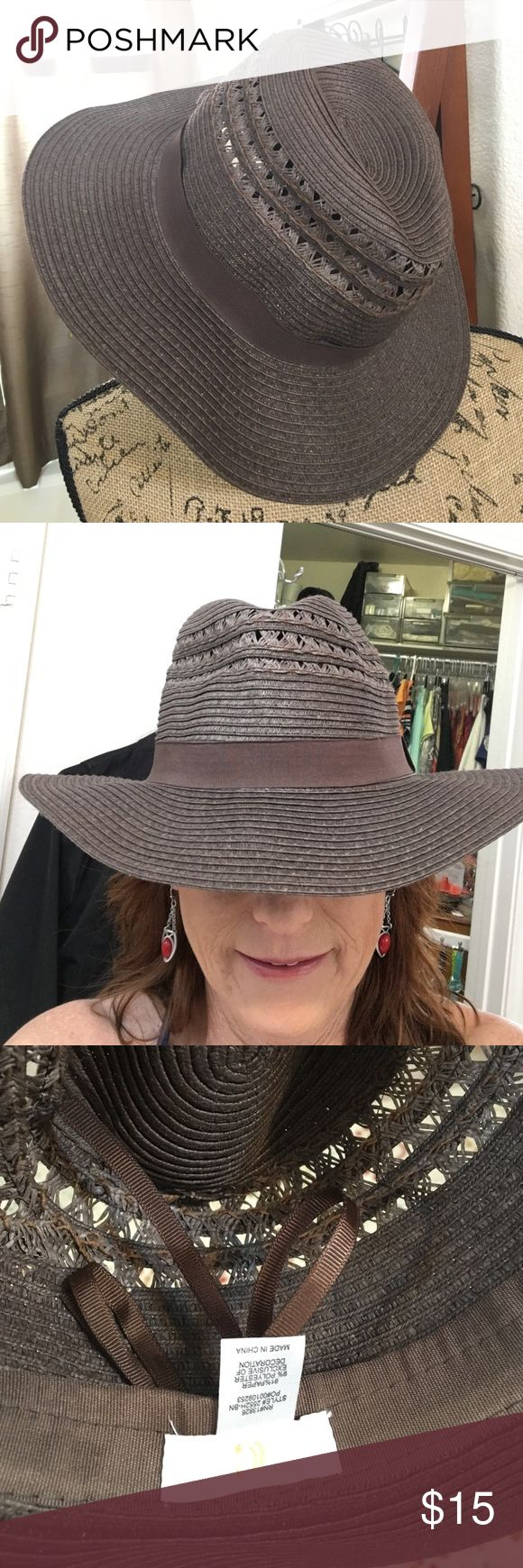 Cute Chocolate Brown Fedora Beach Hat New Beach Hat. With adjustable tie. Charming Charlie Accessories Hats