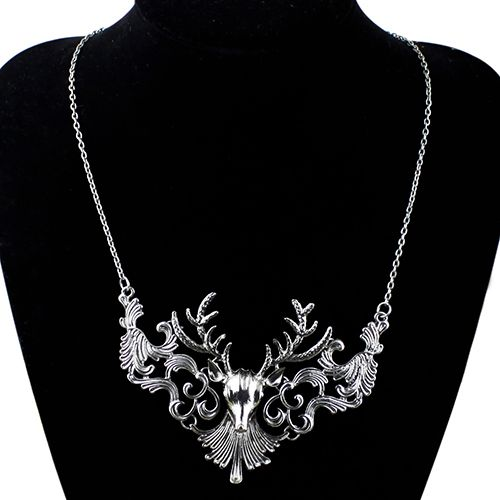 Hot Retro Bronze Antique Silver Deer Head Design Pendant Necklace for Men Jewelry Cool Jewelry 5UBG 6SXV 7GC3 BDX6