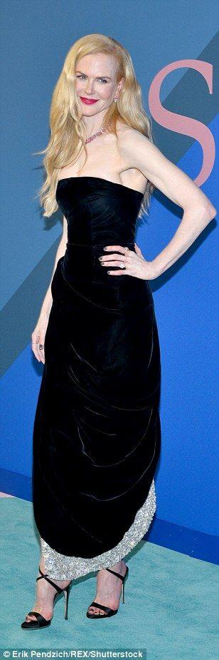 Keeping it classic: Nicole Kidman (in Oscar de la Renta), Karlie Kloss (in Diane von Furstenberg) and Julia Restoin Roitfeld all chose black dresses, although in different styles