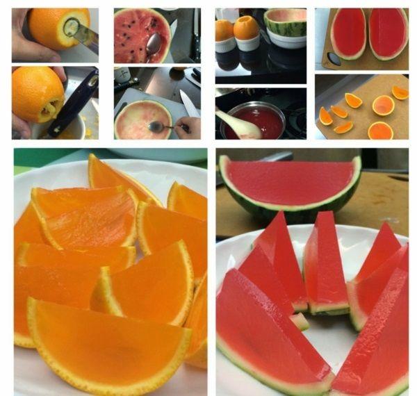 Schneiden die Oberseite jeder Orange und bohren Sie ein Loch drinnen mit dem Entkerner. Wenn Sie über keinen Entkerner... Frische Orangen und Wassermelonen