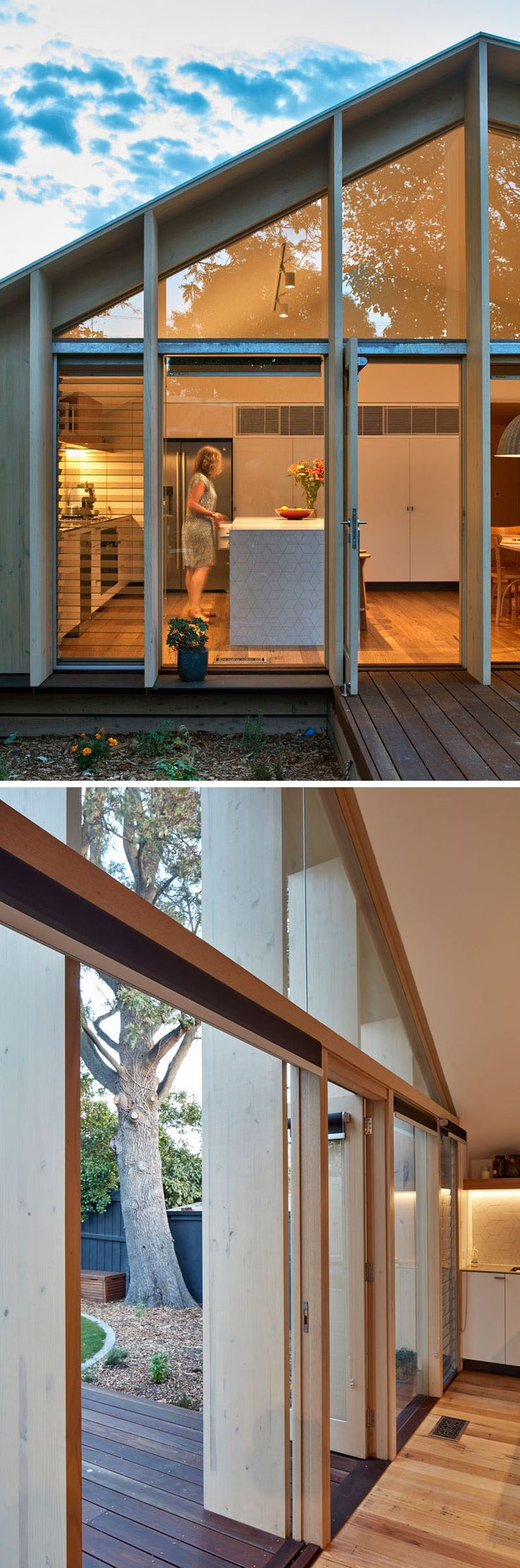 Laminated timber fins on the exterior of this Australian house extension provide structure, a finished surface and shade the interior from the sun.