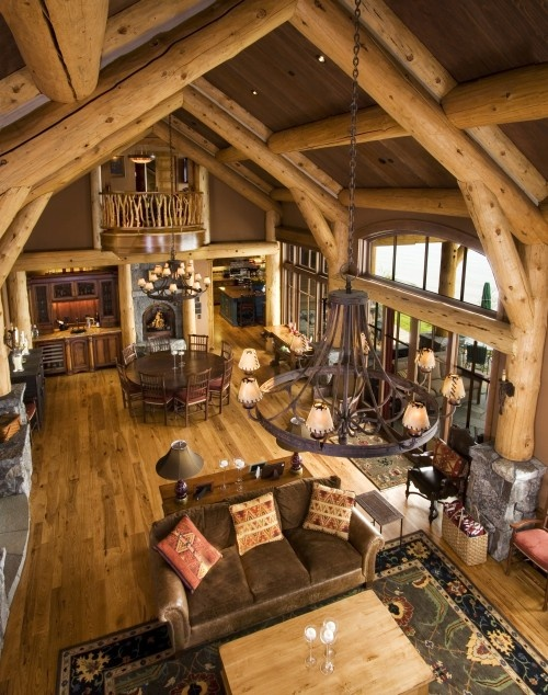 Soaring Ceilings In This Log Constructed Home Built To Resemble A Barn.