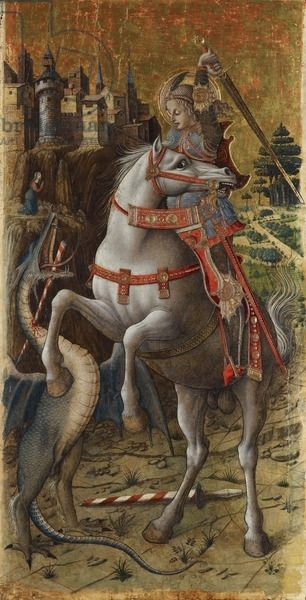 St. George and the Dragon, 1470 (gold  tempera on panel)CreatorCrivelli, Carlo (c.1430/35-1495)