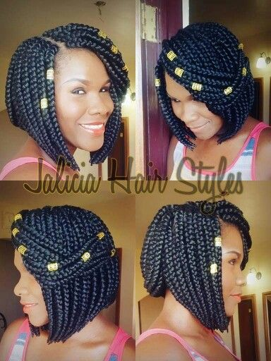 Awesome box braids with a bob style. #naturalhair