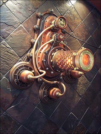 Steampunk wall sconce | I LOVE the giant plugs and sockets looking like they are going into the wall!