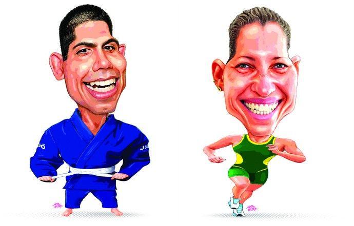 Nacif Elias (judô) e Pâmella Oliveira (triatlo) (Foto: Amarildo/Ed. de Artes/A…