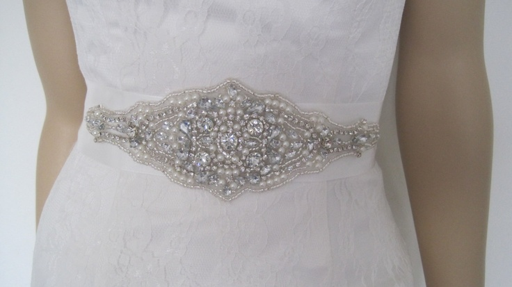 "Pearl and crystal bridal sash,crystal wedding belt,,rhinestone bridal sash ""VICTORIA. $49.00, via Etsy. In silver. :-)"