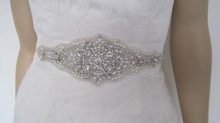 "Pearl and crystal bridal sash,crystal wedding belt,,rhinestone bridal sash ""VICTORIA. $49.00, via Etsy. In silver. :-)"