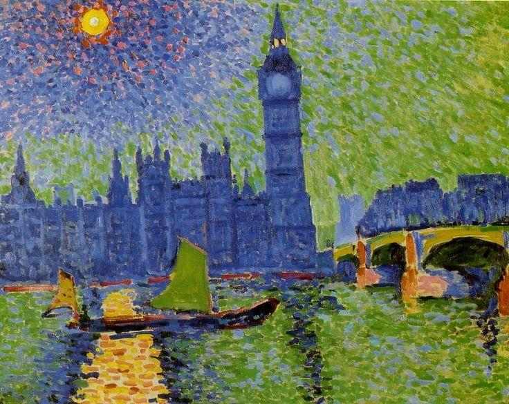 """Ressam : Andre Derain (1880-1954) Resim : Big Ben, London (1906) Nerede :Musee D'art Moderne, Paris, Fransa Boyutu: 79 cm x 86 cm Andre Derain'nın nefes kesici Londra resimlerinden bahsetmiştim. O gerçekten Monet'den sonra Londra'yı en farklı gözle göre ressam. 2012'de hepimiz için griler diyarı Londra'yı bile rengarenk görebilecek güzel gözler diliyorum! Derain'nın hayatını ve çarpıcı portresi """"Woman in a Chemise""""i 22 Kasım'da anlatmıştım, hatırlamak isterseniz tıklayı..."""