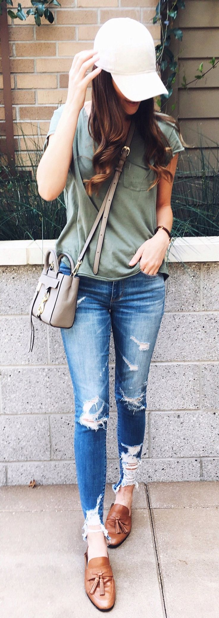 #spring #outfits  Sunday Style In My Comfiest Jeans And Distressed Tee + Always A Baseball Cap & Unwashed Hair.✌ // White Cap + Olive Tee + Ripped Skinny Jeans