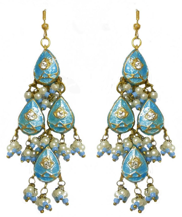 Cyan Blue with Golden Chandelier Lac Earrings (Lac, Bead and Stone)