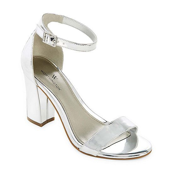 Worthington Beckwith Womens Heeled Sandals Jcpenney Silver Block
