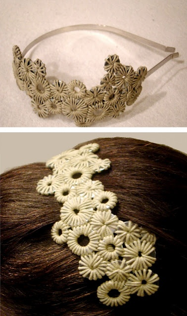 Handmade hairpiece made from steel rims and cotton thread.  Available in other colors upon request.  slobejcts@gmail.com $25