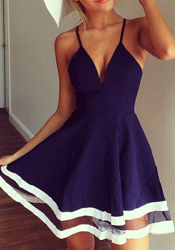 Summer fashion | Navy/white dress