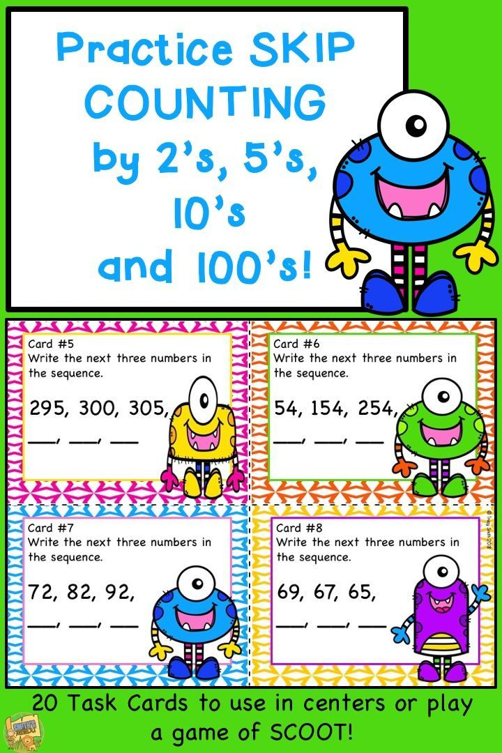 Skip Counting by 2\'s, 5\'s, 10\'s and 100\'s Task Cards - Grades 2-3 ...