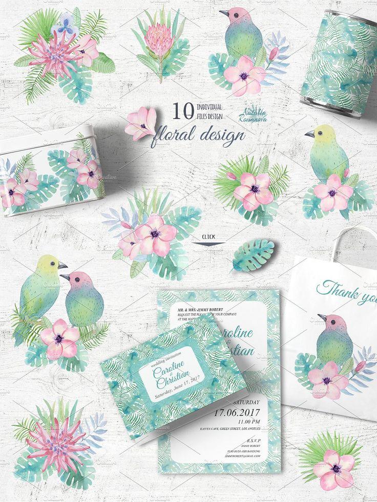 Tropical watercolor set 3. Plumeria by Natali_art on @creativemarket