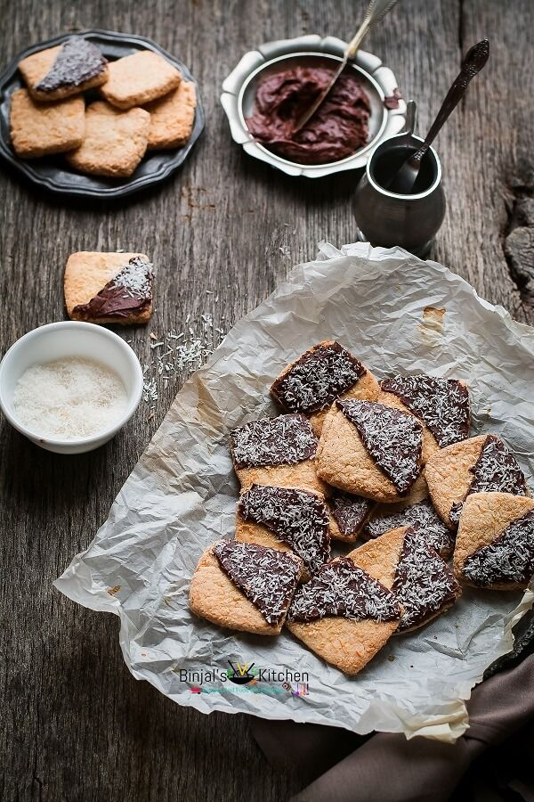 Eggless Chocolate Frosted Coconut Cookies - Binjal's VEG Kitchen