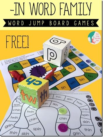 """FREE Word Family Board Game - This is such a fun, free pritnable game for kids in K-2nd grade to practice words from the  """"in"""" family. (homeschool phonics)"""