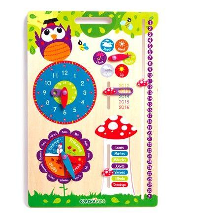 Calendario de madera de Eurekakids con reloj para aprender los días del mes y la semana, las horas, el tiempo... Para niños de 3 a 6 años.  Es de Eurekakids.